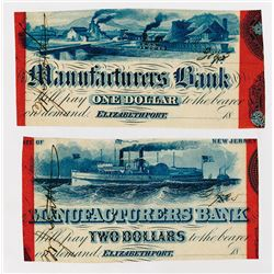 Manufacturers Bank. 18xx. Pair of SENC Cut Down Obsolete Bank Notes.