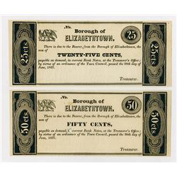 Borough of Elizabethtown. 1837. Pair of Obsolete Notes.