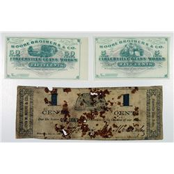 Fislerville Glass Works. 1863. Trio of Obsolete Notes.