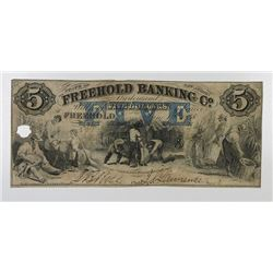 Freehold Banking Co. 1858. Haxby Plate Note Obsolete Note.