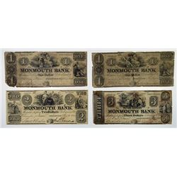 Monmouth Bank. 1841-1844. Quartet of Obsolete Notes.