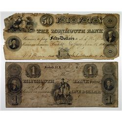 Monmouth Bank. 1858. Pair of Obsolete Notes.