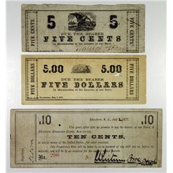 Warrick & Stanger and Whitney Glass Works. 1871-1877. Trio of Obsolete Notes.