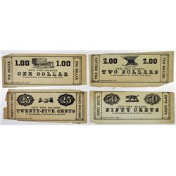 Warrick & Stanger. 1870-1871. Quartet of Obsolete Notes.