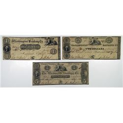 Washington Banking Co. 1833. Trio of Obsolete Notes.