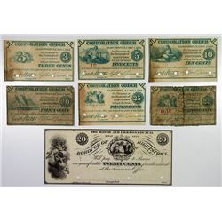 Borough of Hightstown. 1862. Septet of Obsolete Notes.