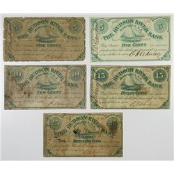 Hundson River Bank, Hoboken, O.H.Wheeler, 1862, Quintet of Obsolete Scrip Notes.