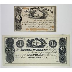 Howell Works Co. 1861. Pair of Obsolete Notes.