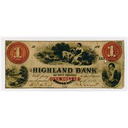 Highland Bank. 1858. Obsolete Note.