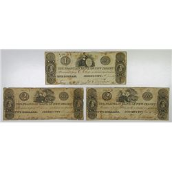 Franklin Bank of New Jersey. 1827. Trio of Obsolete Notes.