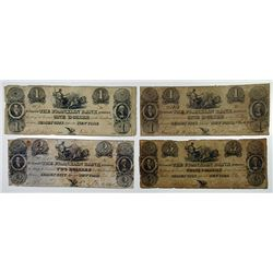 Franklin Bank. 1827. Quartet of Obsolete Notes.