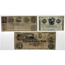 Hudson County Bank and the City of Jersey City. 1862. Trio of Obsolete Notes.