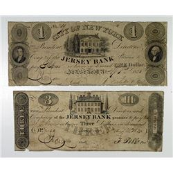 Jersey Bank. 1825. Pair of Obsolete Notes.