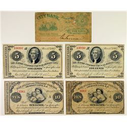 M.B.Forman and the City of Jersey City. 1862. Quintet of Obsolete Notes.
