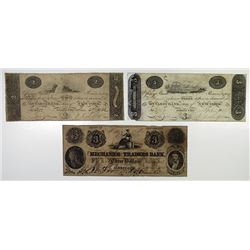 Mechanics and Traders Bank. 1852. Trio of Obsolete Notes.