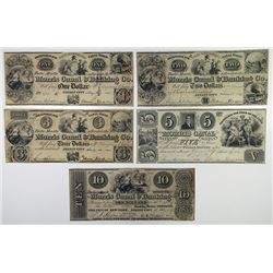Morris Canal & Banking Co. 1841. Quintet of Obsolete Notes.