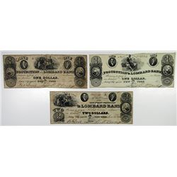Protection and Lombard Bank. 1825. Trio of Obsolete Notes.