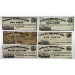 Keyport and Middletown Point Steamboat Co. 1862. Sextet of Obsolete Scrip Notes..