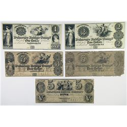 Delaware Bridge Co. 1846. Quintet of Obsolete Scrip Notes..