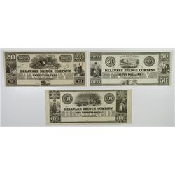 Delaware Bridge Co. 18xx. Trio of Obsolete Notes.