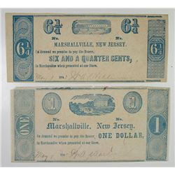 Marshallville, New Jersey. W.A.Williams & W.A.Warren. 1841. Pair of Obsolete Scrip Notes..