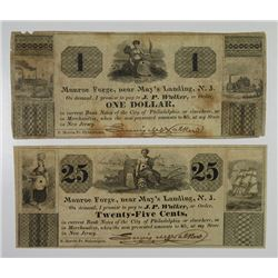 Monroe Forge, near May's Landing, ND (ca.1837), Lewis Walker. Pair of Obsolete Scrip Notes.