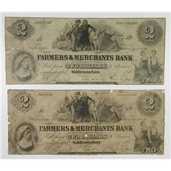 Farmers & Merchants Bank. 1854. Pair of Obsolete Notes.