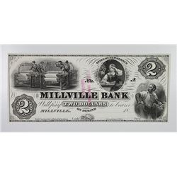 Millville Bank. 1857 Proof Obsolete Banknote.