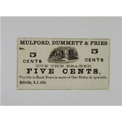 Millville, N.J.. Mulford, Dummett & Fries. 1862. Obsolete Scrip Note.