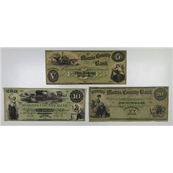 Morristown, NJ. Morris County Bank. 1857. Trio of Obsolete Notes.