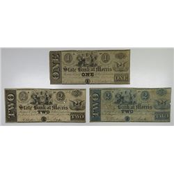 Morristown, NJ. State Bank at Morris. 1849 Obsolete Banknote Trio.