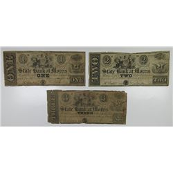 Morristown, NJ. State Bank at Morris. 1849. Trio of Obsolete Notes.