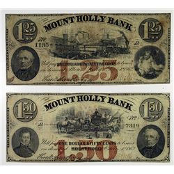 Mount Holly Bank. 1862 Obsolete Note pair.