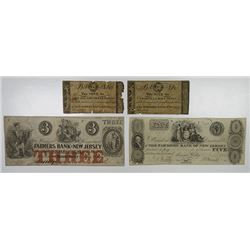 Mount Holly, NJ. Farmers Bank of New Jersey. 1815 to 1856 Obsolete Note Quartet.