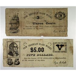 New Brooklin Glass Works, 1850-60's Obsolete Banknote Pair.