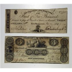 Bank of New Brunswick, 1836 Obsolete Banknote Pair