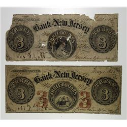 Bank of New Jersey. 1855. Obsolete Banknote Pair