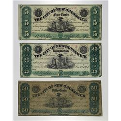 City of New Brunswick. 1862 Obsolete Banknote Trio.