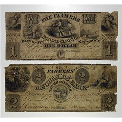 Farmers and Mechanics Bank. 1838 Obsolete Banknote Pair