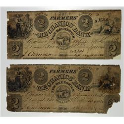 Farmers and Mechanics Bank. 1840 Obsolete Banknote Pair