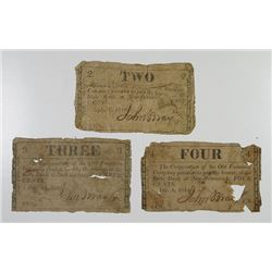 Old Fountain Co. 1814-1815 Obsolete Scrip Note Trio.