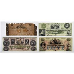 State Bank at New Brunswick. 1818 Obsolete Banknote Quartet.