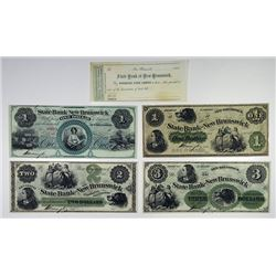 State Bank at New Brunswick. 1862. Quartet of Obsolete Notes.