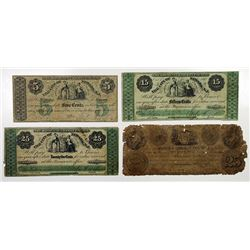 City of Newark. 1863. Quartet of Obsolete Notes.