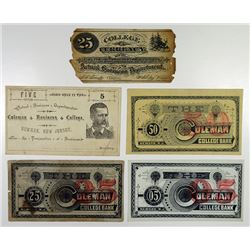 Coleman Business College Bank, 1860-80s Quintet of College Currency Obsolete Banknotes.