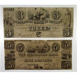 Mechanics Bank. 1845 Obsolete Note Pair