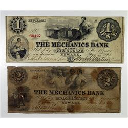 Mechanics Bank. 1863 Obsolete Banknote Pair