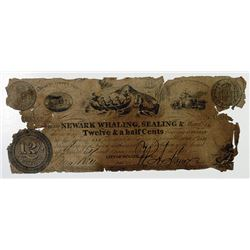 Newark, NJ. Newark Whaling, Sealing & Manufacturing Co. 12-1/2 Cents, 1837 Wait 1543.