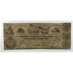 Newark, NJ. Newark Whaling, Sealing & Manufacturing Co. 37-1/2 Cents Oct. 25, 1837 Wait 1545.