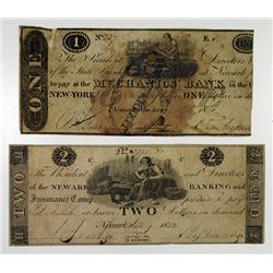 State Bank at Newark & Newark Banking and Insurance Comp, 1822 Obsolete Banknote Pair.
